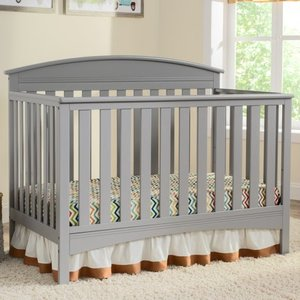 4-in-1 Convertible Crib, Grey- Retail:$251.49