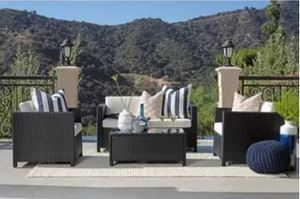 4-piece Squared Wicker Outdoor Sofa Set Retail:$799.99