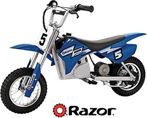 Razor MX350 Dirt Rocket Electric Motocross Off-Road Bike Ages 13+, Up to 30 Minutes Continuous Riding Time, 12-Inch Air-Filled Tires, Hand-Operated Rear Brake, Twist-Grip Throttle, Chain-Driven Motor