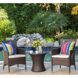 3-piece Outdoor Wicker Chat Set with Cushions by Christopher Knight Home Retail:$302.99