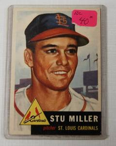 1953 Topps Stu Miller RC #183 St. Louis Cardinals, Collectible Baseball Card in Plastic - Pitcher