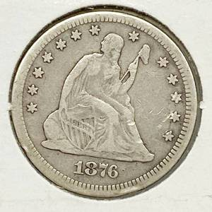1876-CC Seated Liberty Silver Quarter Dollar