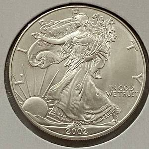 2002 Silver Eagle Dollar - 1 oz of .999 fine Silver