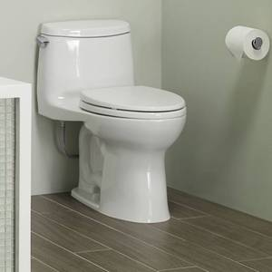 TOTO Ultramax II Het Double Cyclone Elongated One Piece Toilet with Sanagloss, Cotton White (MS604114CEFG#01)