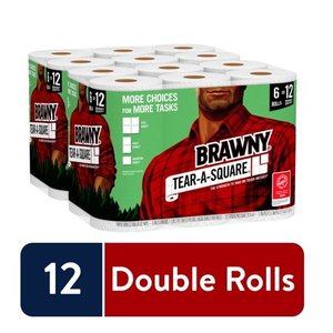 Brawny Tear-A-Square Paper Towels, 12 Double Rolls