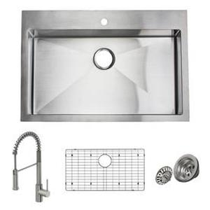 Giagni Trattoria 22-in x 33-in Stainless Steel Single-Basin Stainless Steel Drop-In 1-Hole Residential Kitchen Sink All-in-One Kit