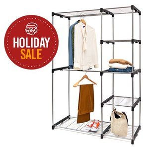 Deluxe Double Rod Closet Organizer Freestanding Wardrobe Rack - Silver