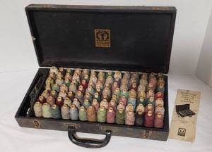 Vintage Bigelow Yarn Repair Kit for Rugs & Carpets ~ Case: 18 x 9 x 4 in. tall