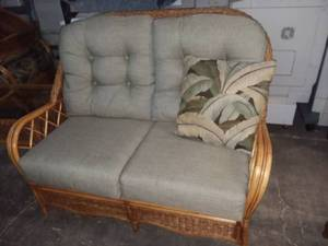 Braxton Culler Furniture Wicker Honey Colored Loveseat