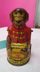 J. CHEIN MECHANICAL MONKEY BANK - HAT AND RIGHT ARM MISSING