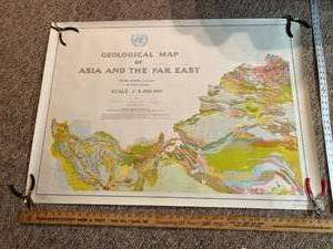 Set of four United Nations geological maps of Asia in the far east dated 1971
