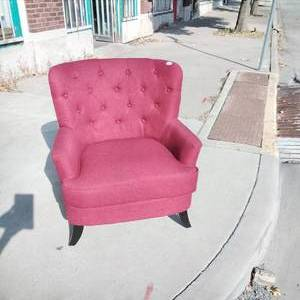 Red Round Back Chair with black feet