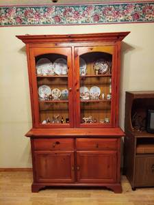 Pine China Cabinet - 2 Pieces