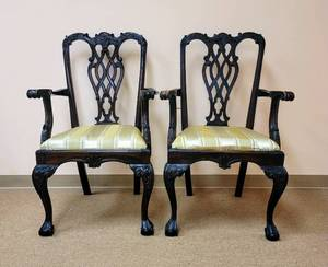 2 Beautiful Carved Wood Chairs - Made in Indonesia