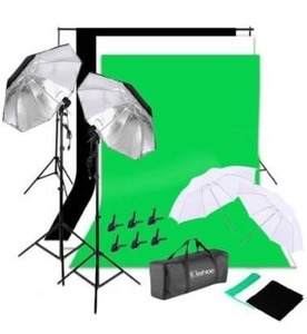 135W Non-woven Background Umbrella Photography Continuous Lighting Kit - New
