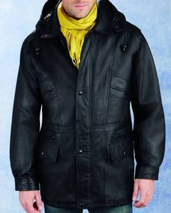Excelled Men's Leather Parka with Removable Hood Retail:$156.49