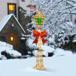 60-inch Gold Wire Lamp Post with Green PVC Film and Red Bow and 85 Clear Indoor/ Outdoor Lights Retail:$120.99