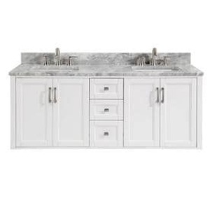 allen + roth Floating White Double Sink Vanity with Natural Italian Carrara Natural Marble Top (Common: 60-in x 20.5-in)