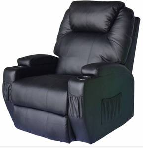 "HomCom PU Leather Recliner Chair with Heat and Massage, ""Slight Damage On Left Side-See Pictures""- Retail:$571.99"