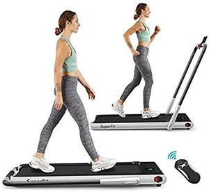 2 in 1 Folding Treadmill, 2.25HP Under Desk Electric Treadmill, Installation-Free, with Remote Control, Bluetooth Speaker and LED Display