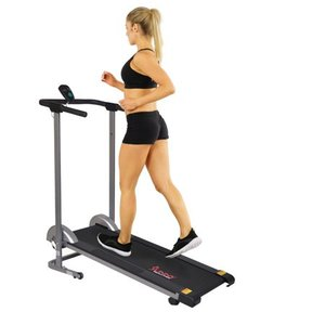 Sunny Health Fitness Foldable Manual Compact Treadmill with LCD Monitor, 220 lb Max Weight