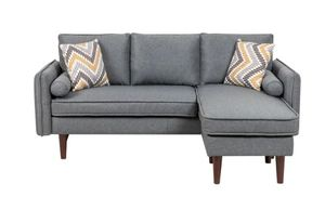 Mia Sectional Sofa Chaise with USB Charger (Tested And Working) & Pillows- Retail:$568.49