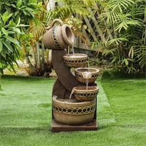 Cement/Resin Cascading Pitchers Outdoor Fountain- Retail:$156.99