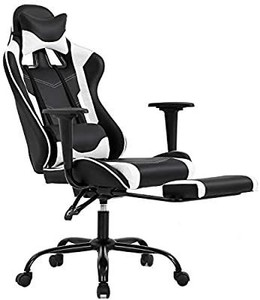 Ergonomic Office Chair PC Gaming Chair Desk Chair Executive PU Leather Computer Chair Lumbar Support with Footrest Modern Task Rolling Swivel Chair for Women, Men(White