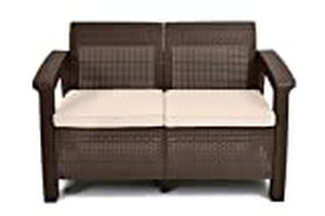 Corfu Resin Patio Love Seat with Cushions - Brown - Keter Retail: $1299.99