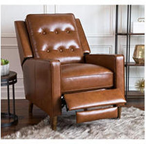 Abbyson Holloway Mid-century Top Grain Leather Pushback Recliner - Camel