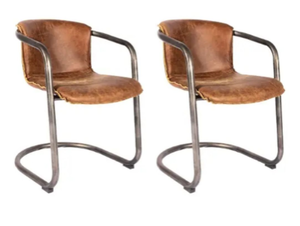 Aurelle Home Distressed Rustic Leather Accent Chair (Set of 2)- Retail:$973.49