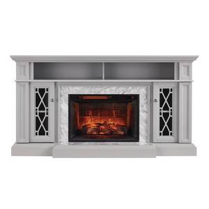 Home Decorators Collection Parkbridge 68 in. Freestanding Infrared Electric Fireplace TV Stand in Gray with Carrara Marble Surround, Light Gray
