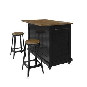 Dorel Living Kelsey Kitchen Island with 2 Stools