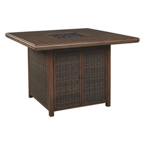 Paradise Trail Outdoor Square Bar Table w/Fire Pit - Medium Brown Retail:$1289.99