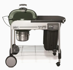 Weber Performer Deluxe 22-in Green Porcelain Enamel Kettle Charcoal Grill Retail $439.00