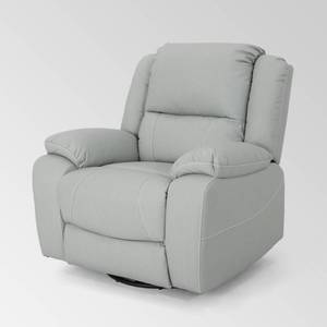 Light Grey Malic Tufted Faux Leather Swivel Recliner by Christopher Knight Home Retail $493.49