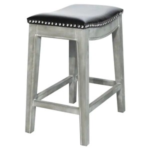 Elmo Bonded Leather Counter Stool - Painted - Black