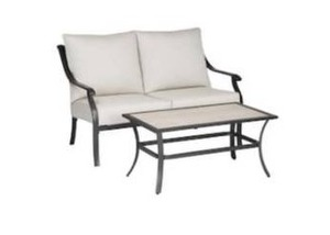 Style selections Elliott creek 2-piece metal frame patio conversation set with cushions