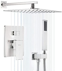 "ESNBIA Shower System, Brushed Nickel Shower Faucet Set with Valve and 12"" Rain Shower Head Systems Wall Mounted Shower Combo Set"