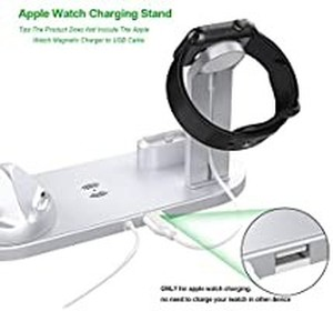 Wireless Charger Stand, 3 in 1 Multi-Function Wireless Charging Station Dock Kit for Apple Watch Airpods, Qi Fast Wireless Charger Holder Pad for iPhone 11 11 Pro Max XS XR 8 Samsung (Silver