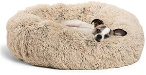 Calming Shag Donut Cuddler Dog Bed in Small