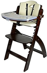 Abiie Beyond Wooden High Chair with Tray. The Perfect Adjustable Baby Highchair Solution for Your Babies and Toddlers or as a Dining Chair. (6 Months up to 250 Lb