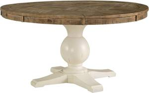 "Grindleburg Collection 60"" Round Dining Table with Reclaimed Wood Top and Two-Tone Finish in Antique White and Light, Top and base included, Pedestal missing"