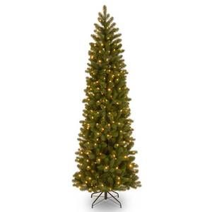 "National Tree 7.5 Ft ""Feel-Real"" Down Swept Douglas Fir Pencil Slim Hinged Tree with 350 Clear Lights"