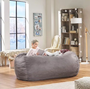 Asher Traditional 6.5 Foot Suede Bean Bag Chair by Christopher Knight Home- Retail:$204.49