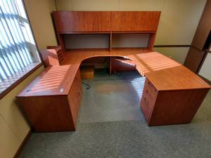 "Large U-Shaped Desk -- Approx. 75"" x 105"" x 68"" H"