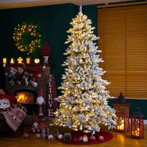 Glitzhome Snow Flocked Pre-lit Fir Christmas Tree Retail:$462.99