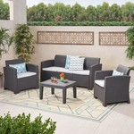 Jacksonville Outdoor 4-piece Wicker Cushioned Chat Set by Christopher Knight Home- Retail:$565.46