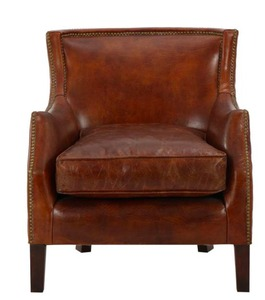 Vintage Light Brown Club Chair With Nail Heads