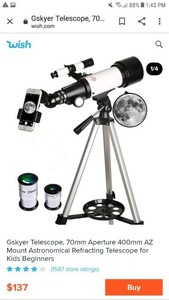 Gskyer Telescope 70mm Aperture 400mm Az Mount Astronomical Refracting Telescope Retail: $135.99